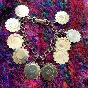 Vintage ten commandments charm bracelet gold tone